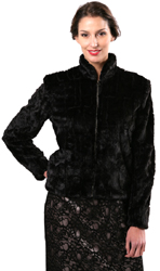 Faux Fur Nehru Jacket with Zip