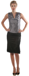 Panelled Lurex Lace Skirt