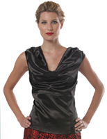 Stretch Satin  Cowl Neck Top