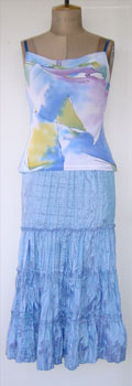 Bias Cut Cami worn with Sky Blue Skirt